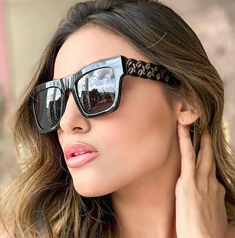 92182 网红款米钉麻花边大框修脸太阳镜 街拍潮女士墨镜个性眼镜