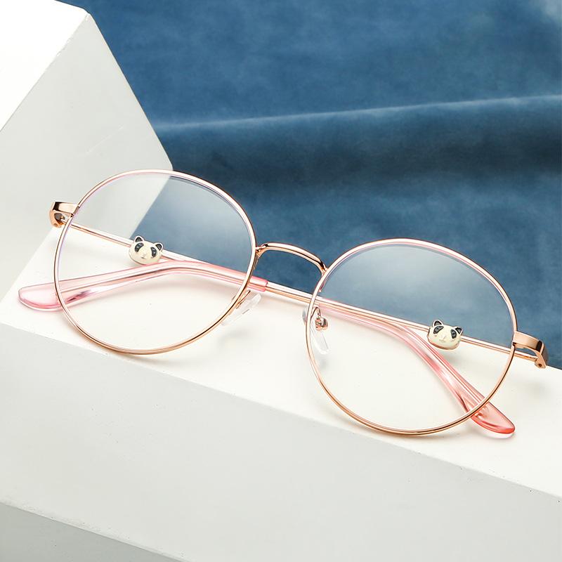 2019新款熊猫眼镜架时尚潮流眼镜框防蓝光圆形平光镜