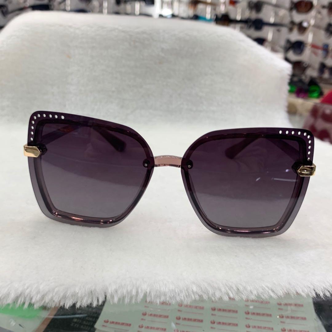 紫色渐变镜片太阳眼镜墨镜六边形设计女式