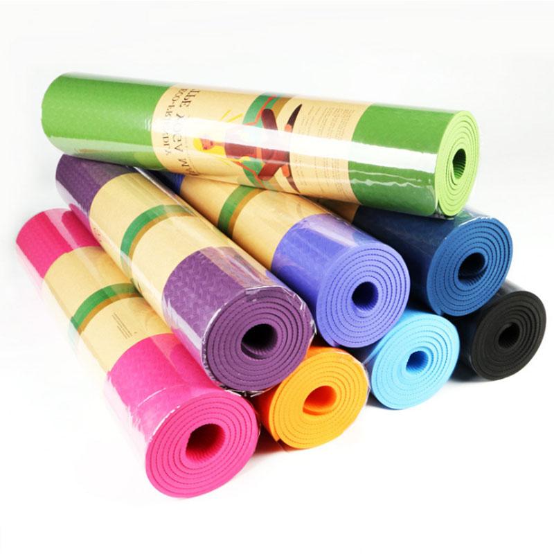 TPE单色6mm健身运动防滑瑜伽垫