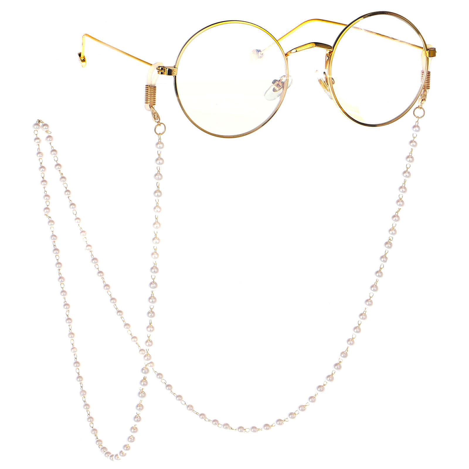 时尚简约全手工白色珍珠眼镜鏈链条眼镜链