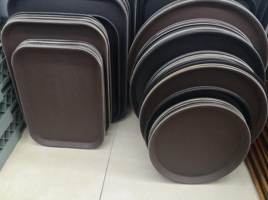 防滑塑料托盘长方形圆形茶水酒吧KTV饭酒店用品餐具上菜专用商用