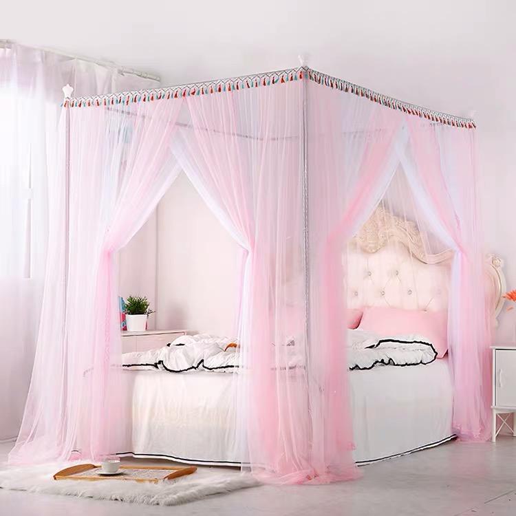 新款粉白色美少女心公主风蚊帐网纱床幔1.5m床上用品1.8米漂亮0.9