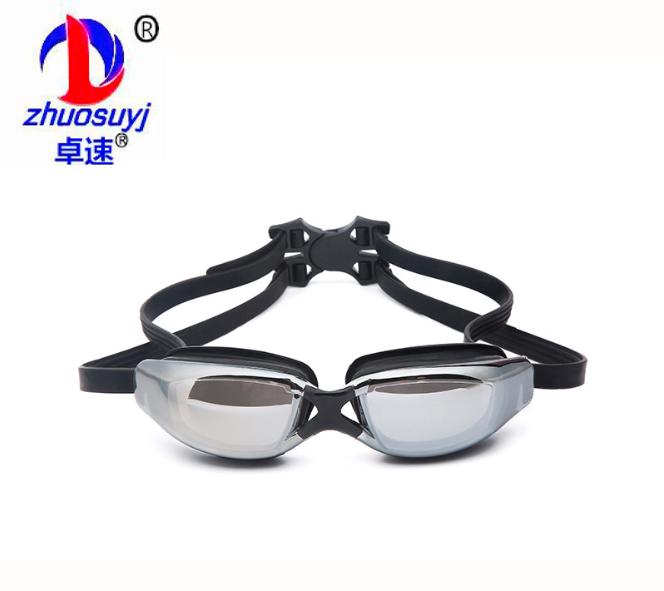 卓速 厂家直销 成人 防雾电镀 硅胶游泳眼镜 自动扣 外贸爆款