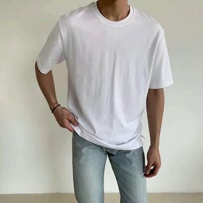 夏季新款男士纯棉纯色短袖T恤