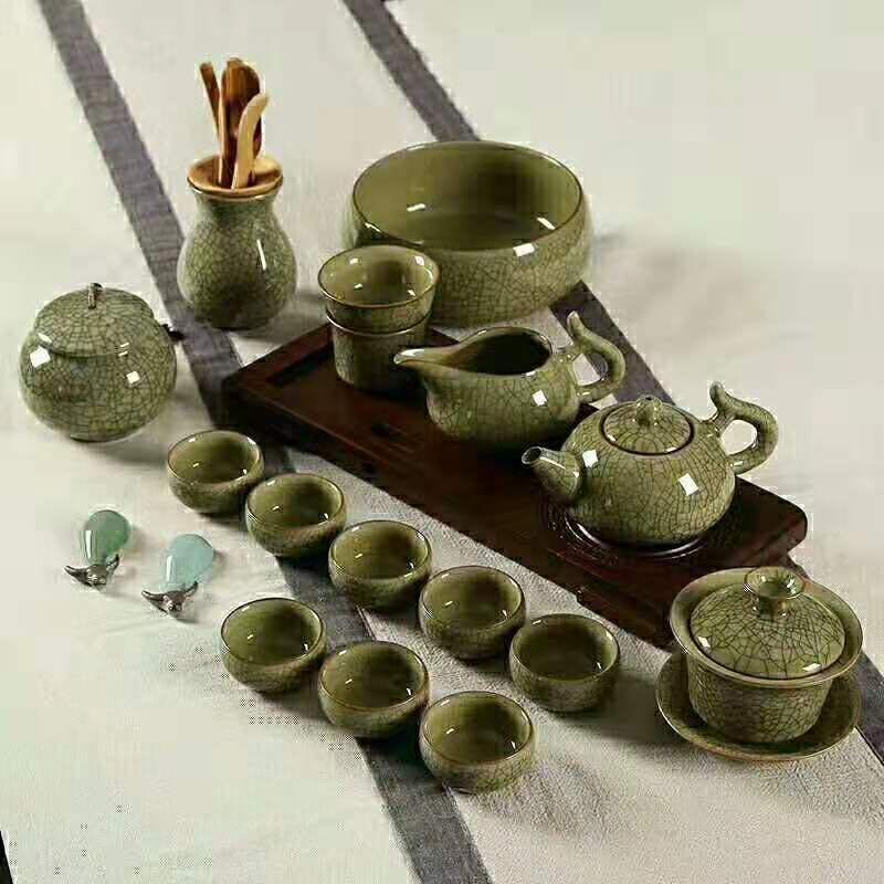 新款龙泉青瓷高档茶具18头礼盒套装复古风茶具