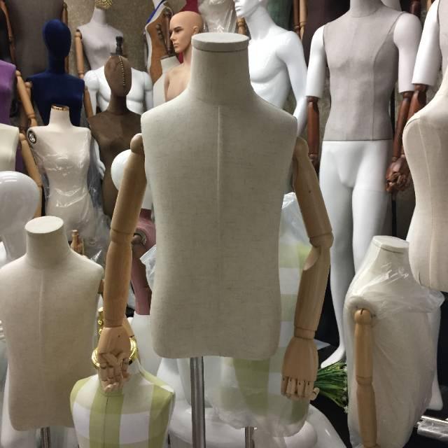 人台人偶模特儿童半身纺织木制关节不锈钢底座