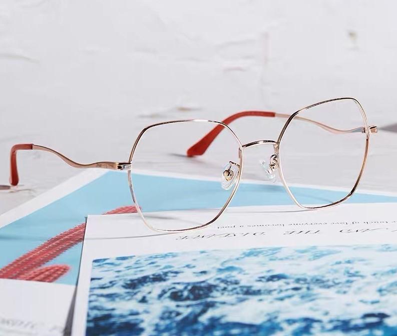 帕莎psr正品新款眼镜架防蓝光近视镜男女时尚网红多边形眼镜框波浪镜腿PJ66306