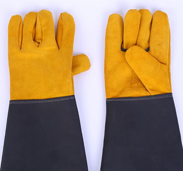 牛皮电焊手套防烫隔热焊接半皮手套二层牛皮革袖焊工手套