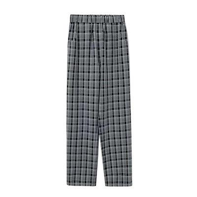 格子裤女韩版宽松直筒复古英伦高腰显瘦拖地裤垂感休闲裤