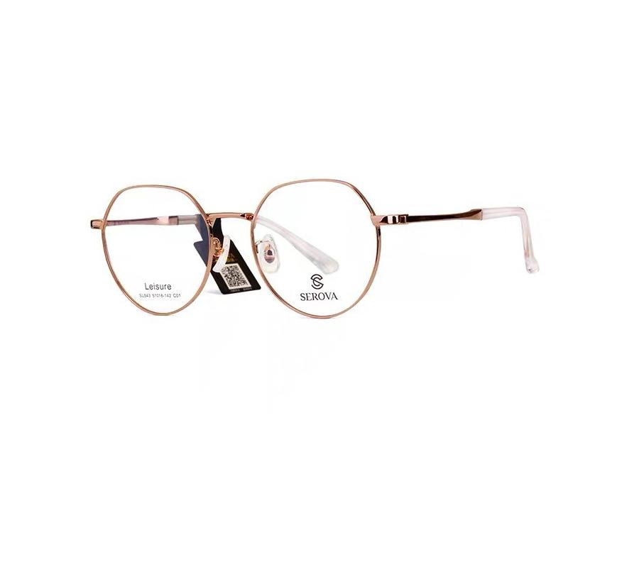 施洛华正品新款眼镜架复古防蓝光近视镜女士时尚方框黑款金色细框轻便SL543