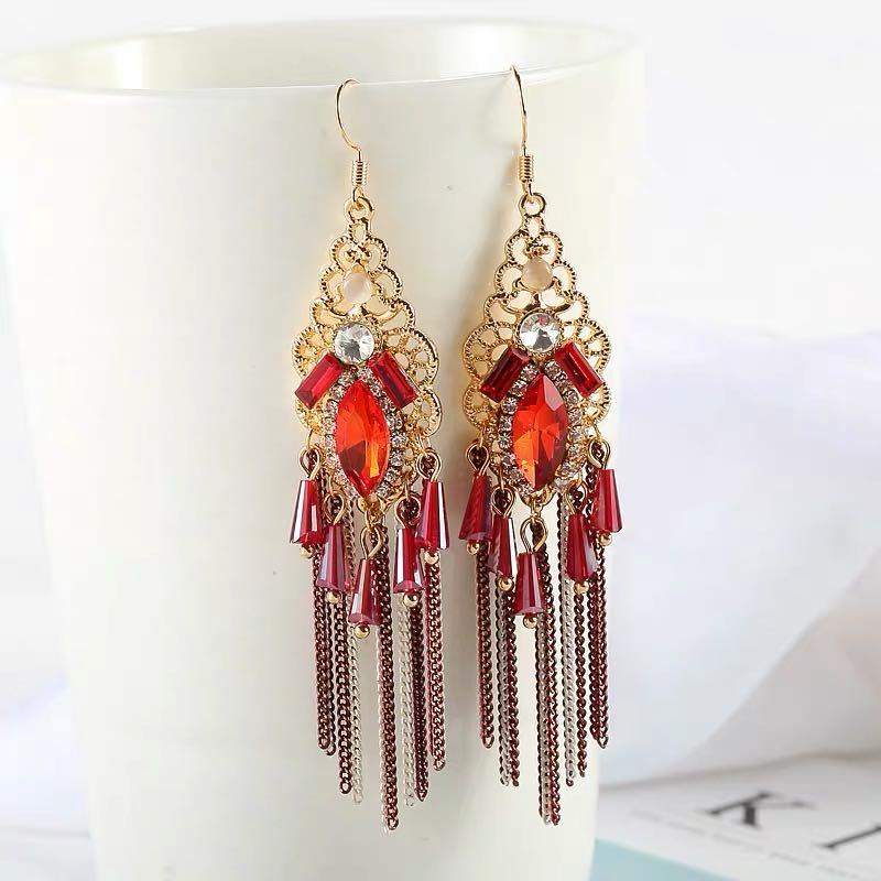 韩国复古奢华金色链条红色水晶坠子大红宝石合金镂空女气质耳饰