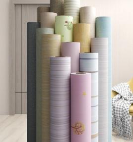 木纹条纹PVC客厅卧室自粘墙纸现代简约壁纸自粘墙