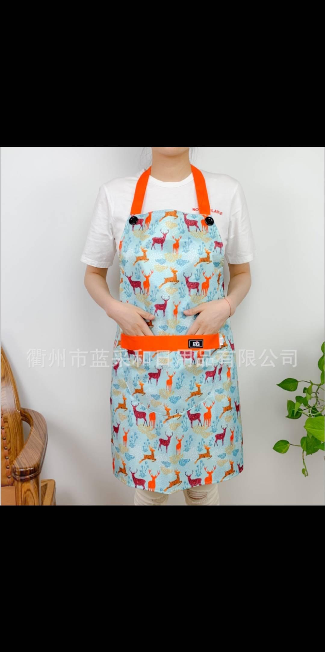 义乌好货 生活蓝成人麋鹿图案挂脖围裙口袋围裙时尚