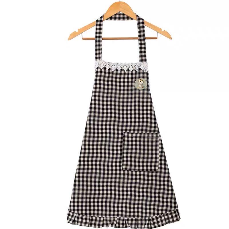 半身围裙韩版时尚防水防油厨房格子家用围裙