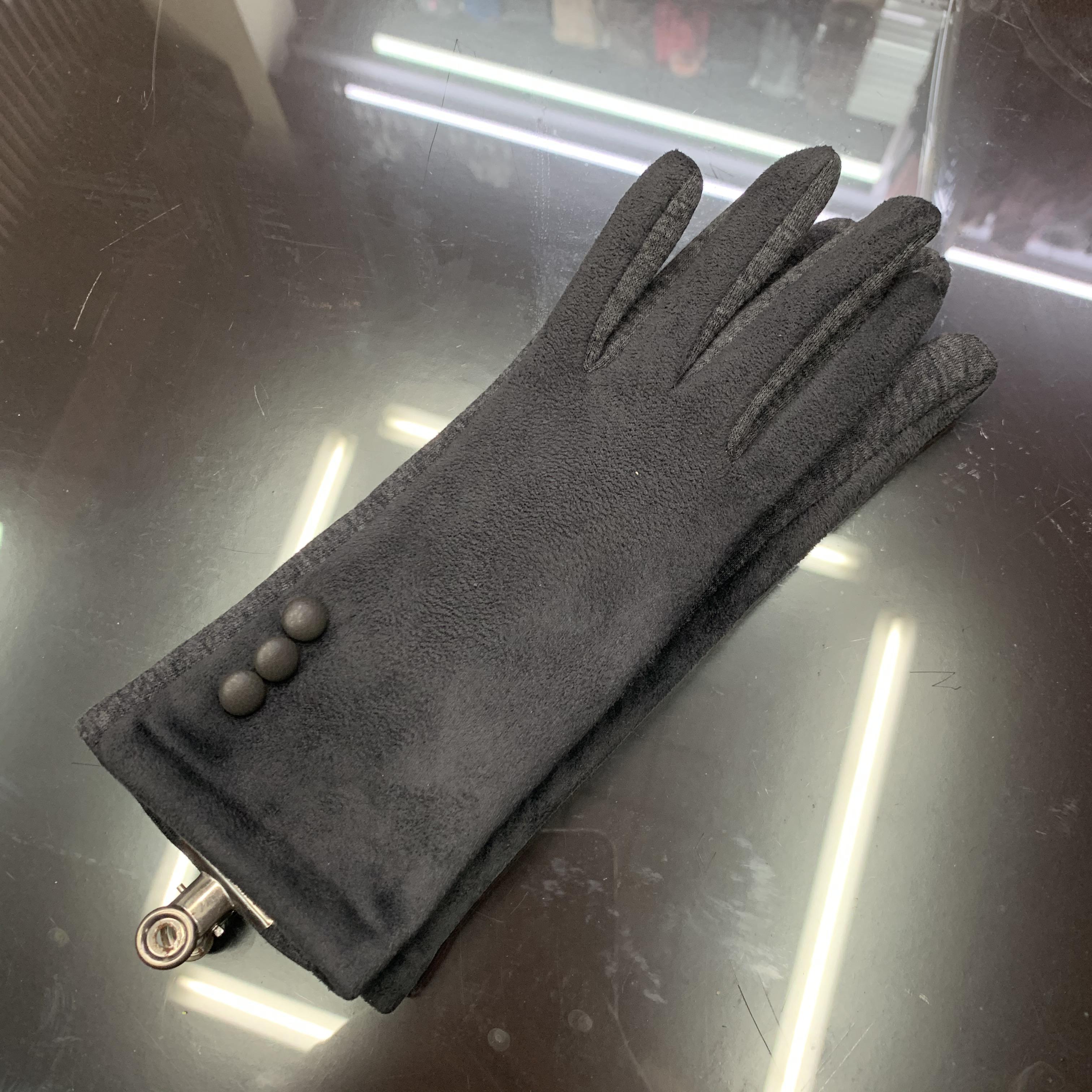 手套女士秋冬季加绒保暖麂皮绒可爱学生...