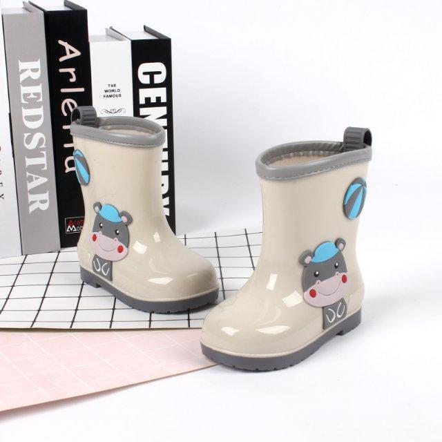 雨鞋儿童可爱包边雨靴轻便防滑靴防水套鞋中筒灰色