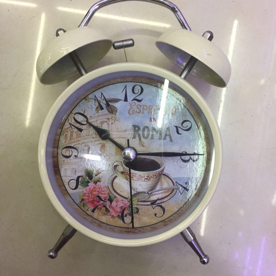 简约小闹钟学生儿童卡通可爱时钟卧室床头专用咖啡复古欧式