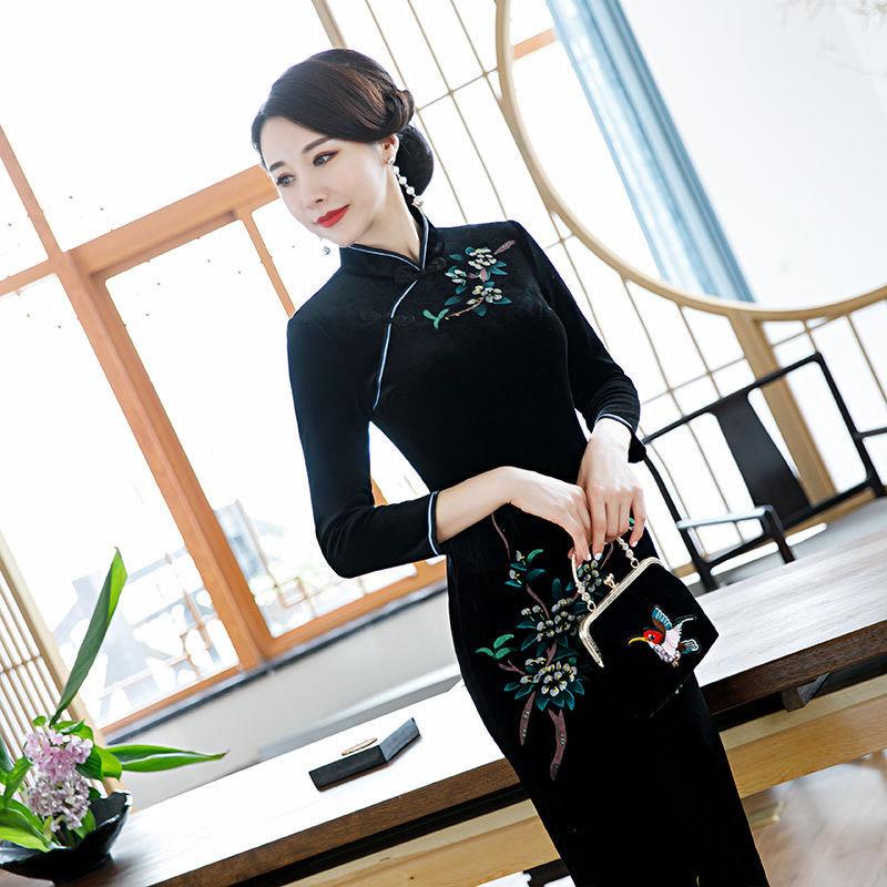 旗袍女春秋改良版长款长袖修身妈妈装旗袍裙子