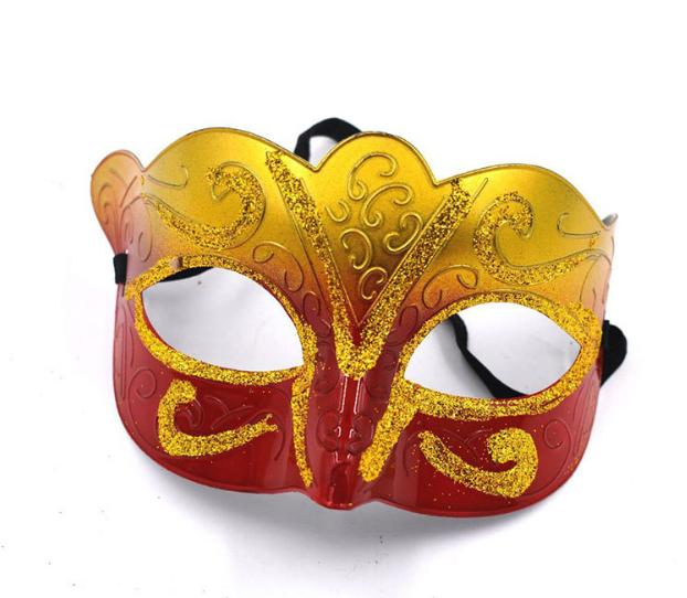 新款化妆舞会面具来样定制万圣节派对金色渐变威尼斯狐狸面具批发