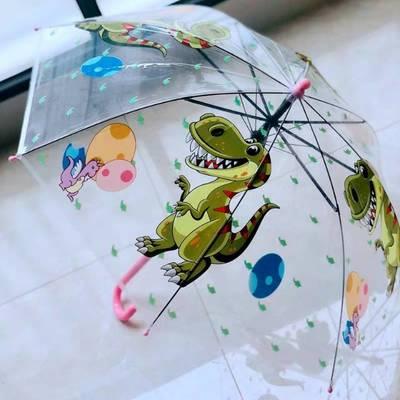 卡通图案儿童小透明伞透明雨伞长柄伞