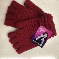仿羊绒女士保暖半指手套秋冬季针织毛线...
