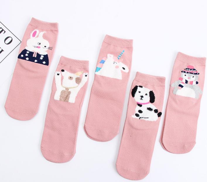 女士休闲小清新卡通动物中筒袜 秋冬新款卡通棉质女袜 厂家直销