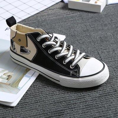 特色鞋带仿翻口低邦春秋男士套脚懒人鞋格布一脚蹬绅士范甲板鞋帆布鞋
