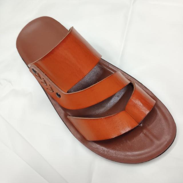 夏季凉鞋棕色时尚男士皮凉鞋夹脚休闲拖鞋