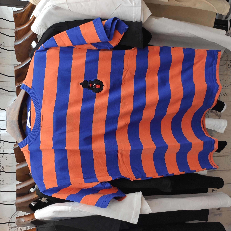 金蜜蜂图案蓝橙双色棉质T恤衫