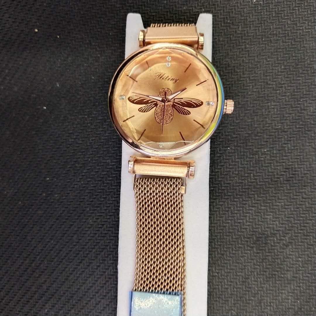 精致蜜蜂表盘防水石英磁铁搭扣女士手表