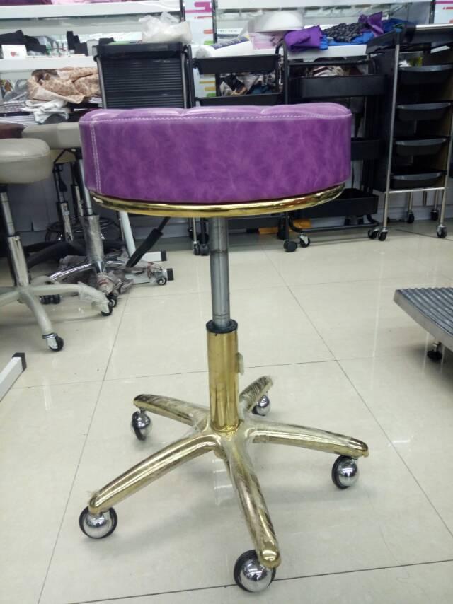 理发店长凳子美容凳子滑轮美容院专用旋转理发店升降圆凳子紫色