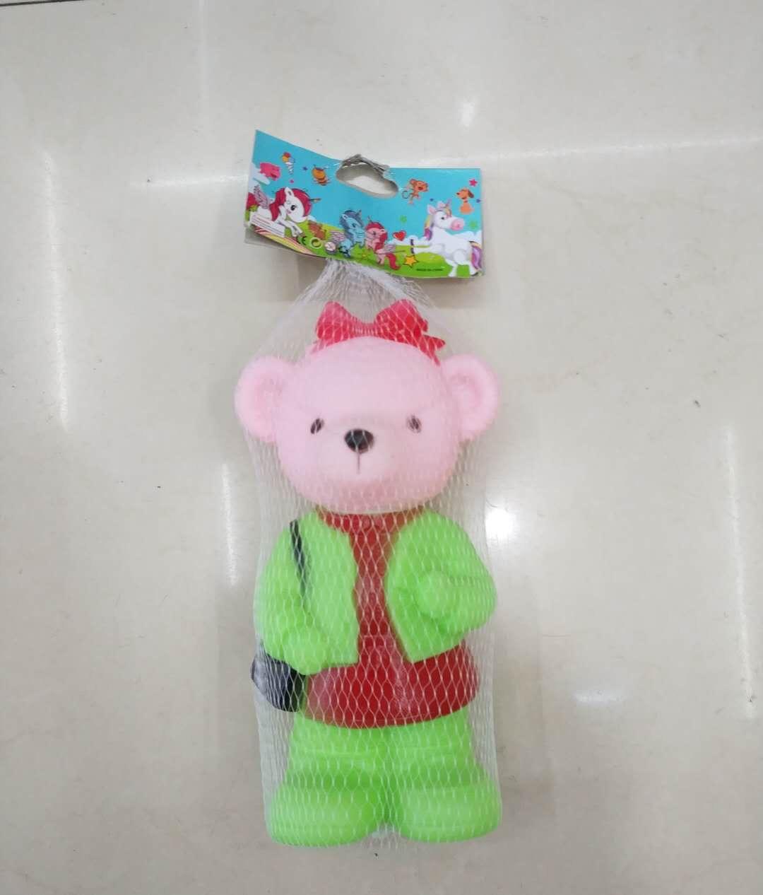 儿童玩具搪胶熊博士衣服青色会叫捏捏叫小熊