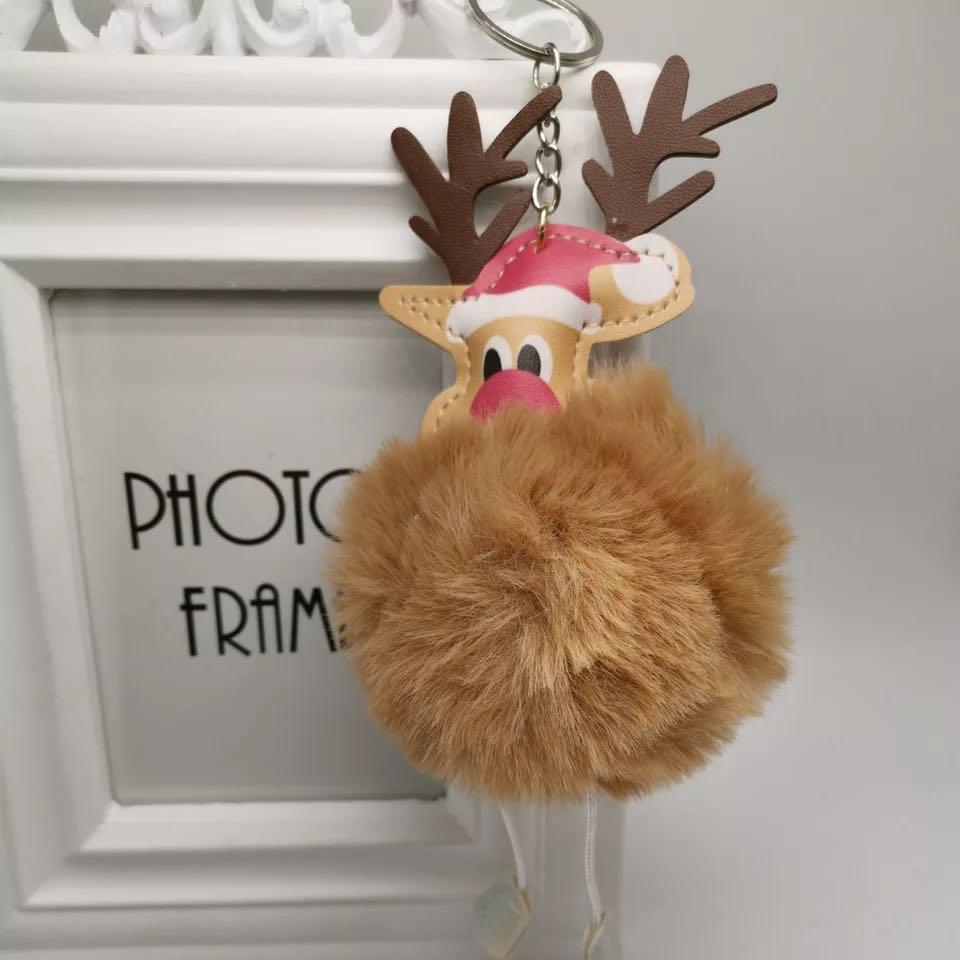 热销圣诞老人毛球钥匙扣挂件饰品