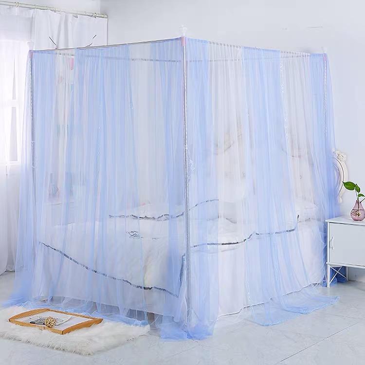 新款简约风蚊帐0.9不锈钢支架蚊帐双人1.8m家用白灰色1米单人