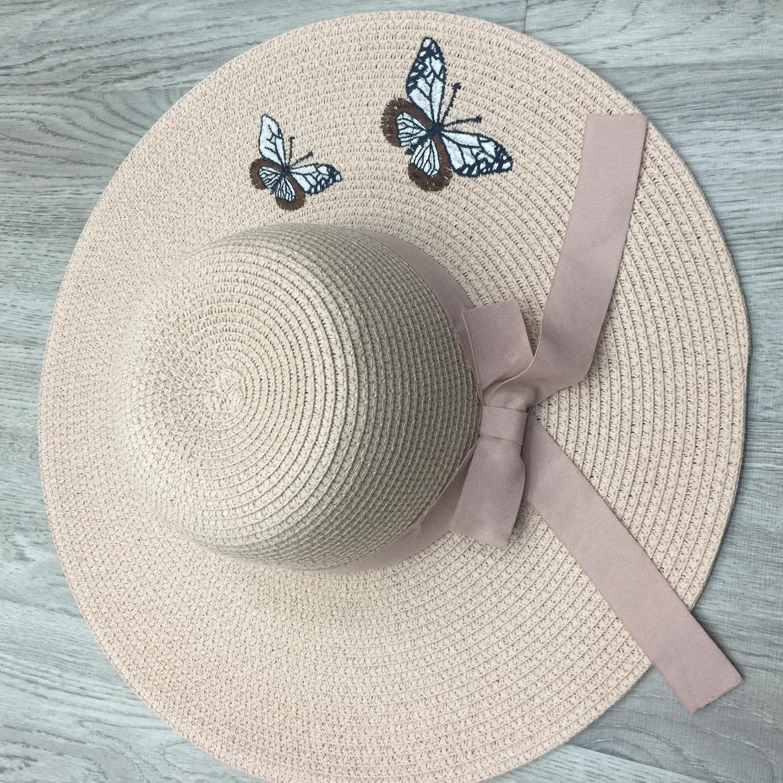 草帽女夏天小清新大沿太阳帽可折叠沙滩帽子防晒刺绣蝴蝶遮阳帽子