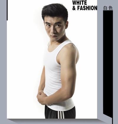 韩版夏季男士吊带背心棉透气紧身无袖汗衫男跨栏运动潮修身纯白色