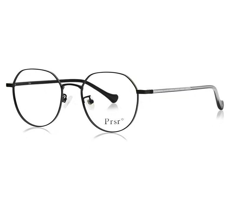 帕莎psr正品新款眼镜架防蓝光近视镜女款时尚圆框黑色PJ66397