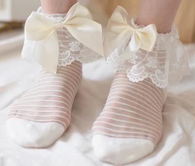 白色蕾丝边搭配黄色蝴蝶结条纹春秋款可爱甜美女船袜