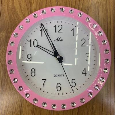 座钟挂钟钟表时间装饰家居客厅挂墙粉色外框