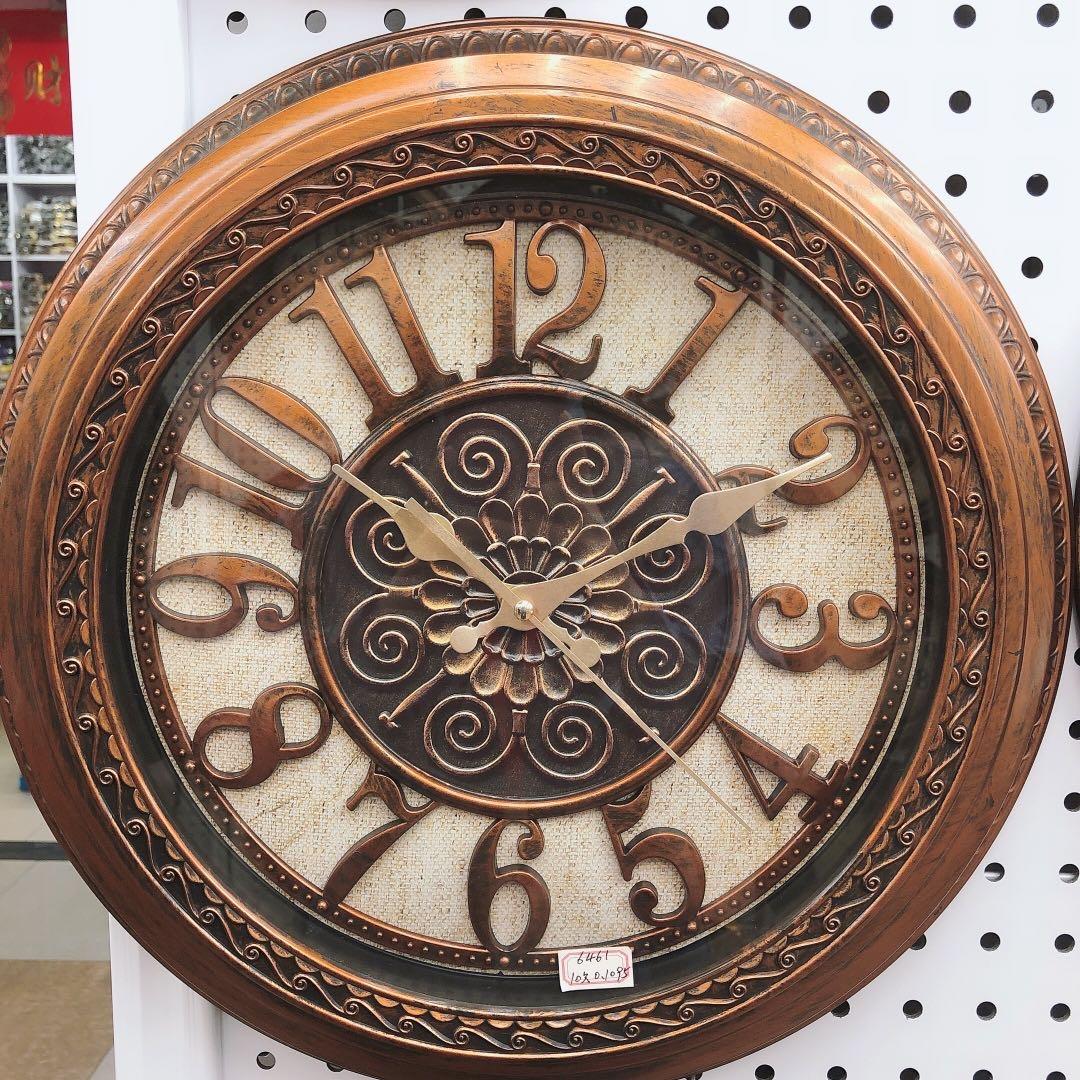 美式复古静音挂钟客厅简欧创意欧式挂表北欧艺术装饰时钟表