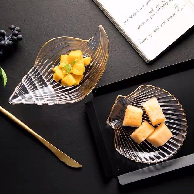 北欧风ins风金边玻璃餐具创意扇贝盘甜品盘沙拉碗