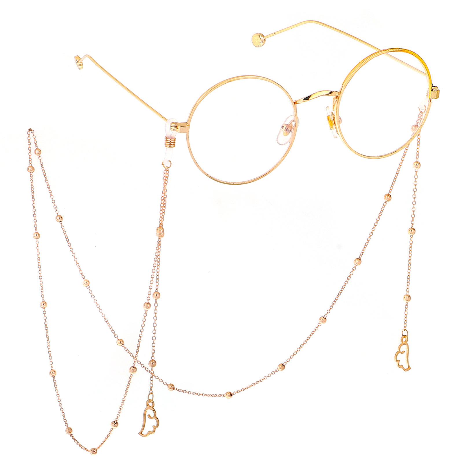 厂家 时尚简金色 天使翅膀保色夹珠眼镜鏈金属链条眼镜链