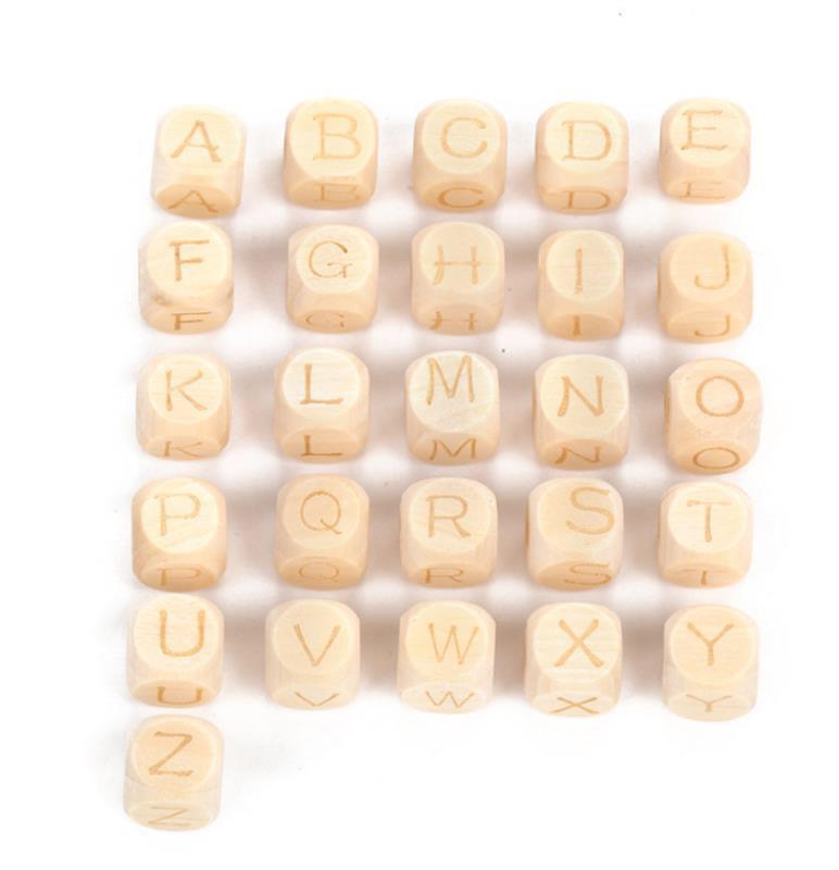 26个字母手工荷木字母正方形散珠 木质精致玩具工艺品