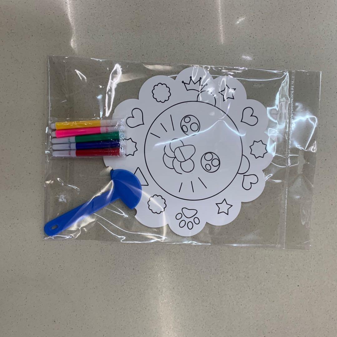 儿童diy手绘空白扇子 折扇画扇宫扇纸凉扇幼儿园创意美术绘画玩具