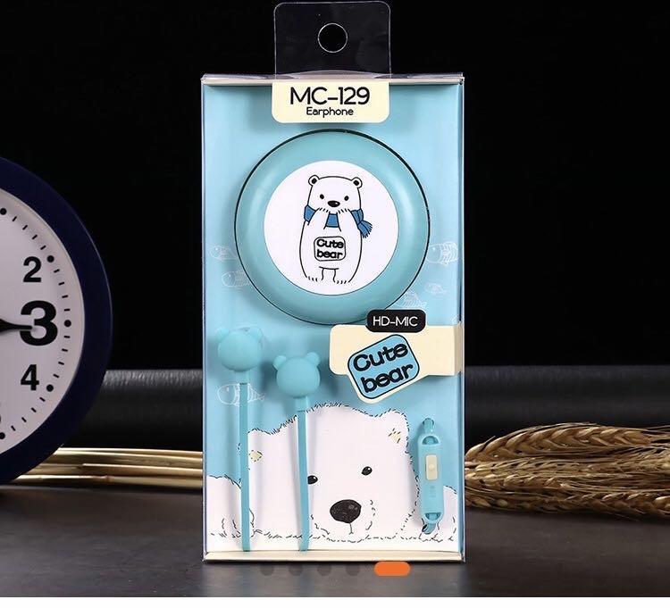 新款可爱小熊收纳盒手机线控耳机
