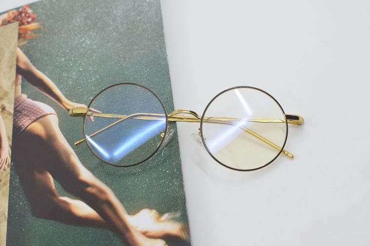 新款复古圆框平光镜金属男女同款框架眼镜原宿经典近视眼镜架22209