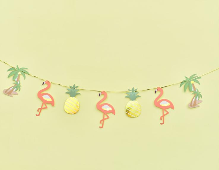 韩式火烈鸟拉花拉旗生日派对节庆装饰用品菠萝热带雨林拉条挂旗