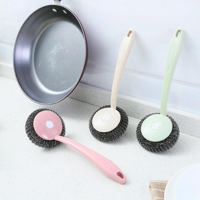 家用去污长柄钢丝球洗锅刷 厨房不锈钢洗碗清洁球水槽灶台清洁刷