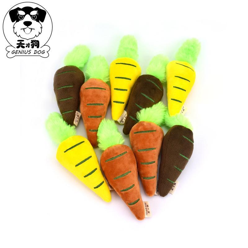 天才狗新款蔬菜宠物玩具 毛绒发声水果狗玩具 彩色胡萝卜厂家批发